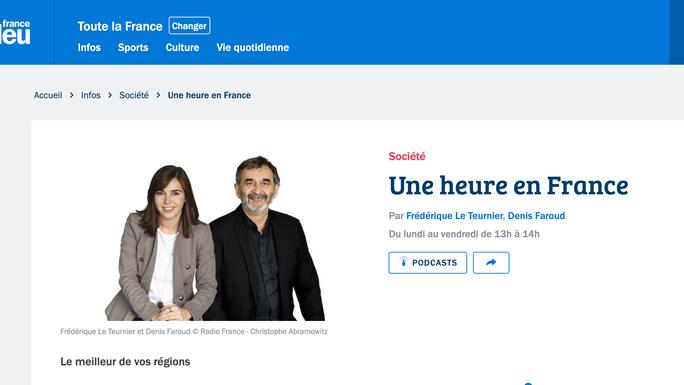 """""""Une heure en France"""", Interview France Bleu"""