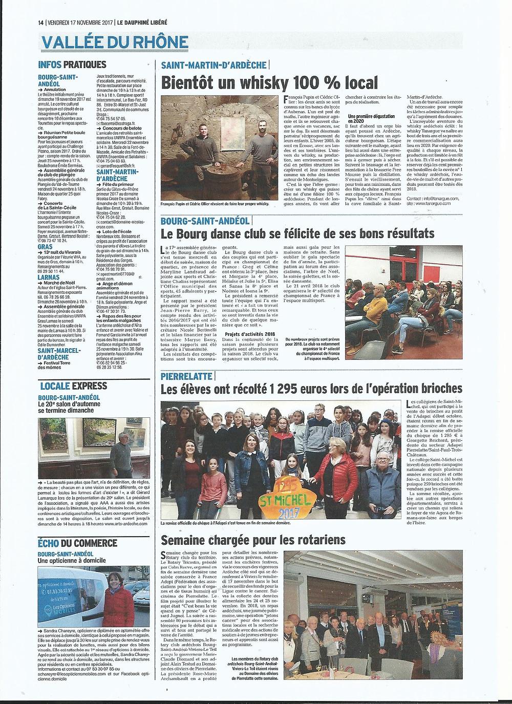 Tanargue dans le Dauphiné Libéré
