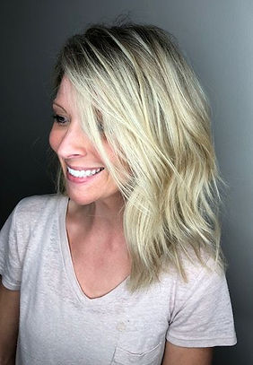 JR Hair by Jenni Reynolds. Blonde long bob with texture.