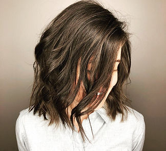 JR Hair by Jenni Reynolds. Brunette bob with beach waves.