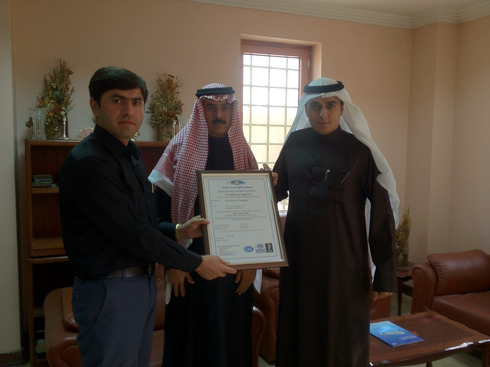 With Engineer Aljlan Al-Ajlan and Mr. Saad Ak-Ajlan during the handover of the ISO certificate to Asia Plastic & Packaging