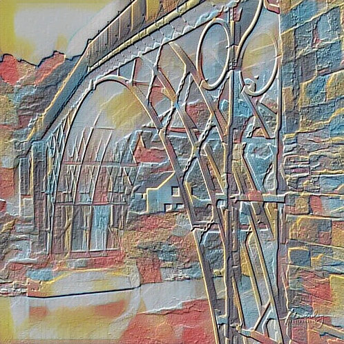 Rainbow Ironbridge square mounted print