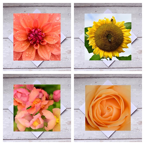 Flowers - Peach & Yellow Greeting Cards