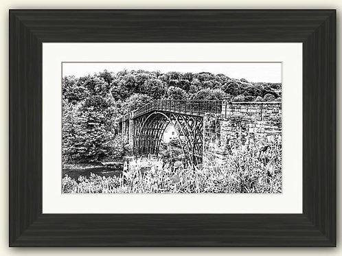 Ironbridge & Poppies Framed Print (B/W)