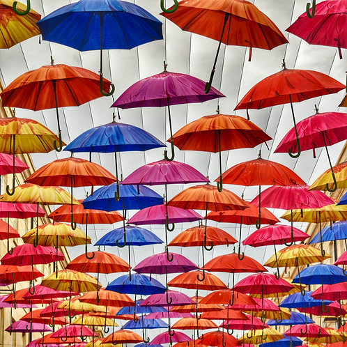 Umbrellas square mounted print