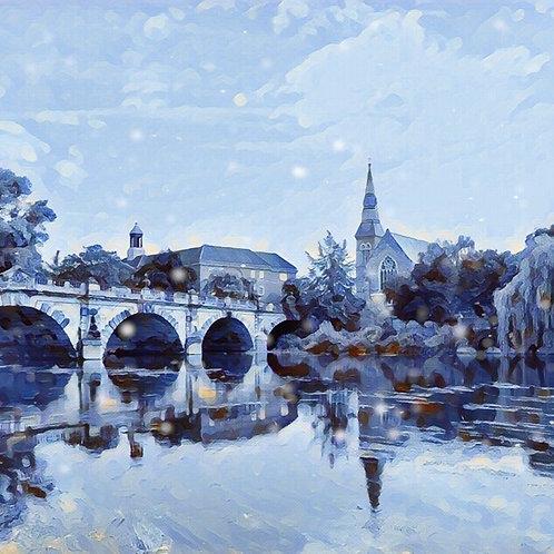 English Bridge Shrewsbury Medium Mounted Print