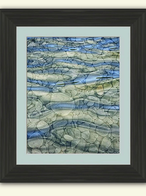 Pebbles & Water Abstract Framed Print