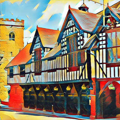 Guildhall Much Wenlock Square Mounted Print