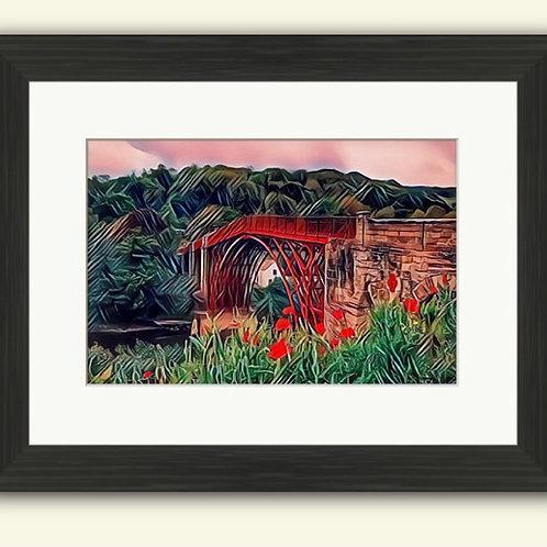 Ironbridge & Poppies Photoart Framed Print
