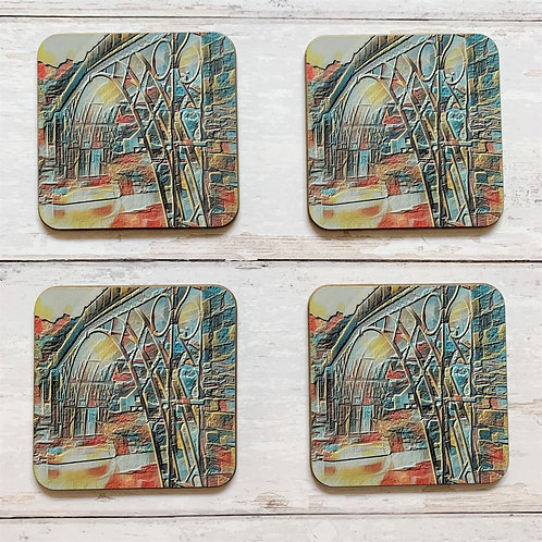 4 x Rainbow Ironbridge Coasters