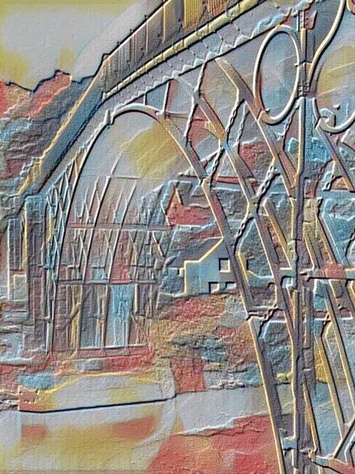 Rainbow Ironbridge Medium Mounted Print