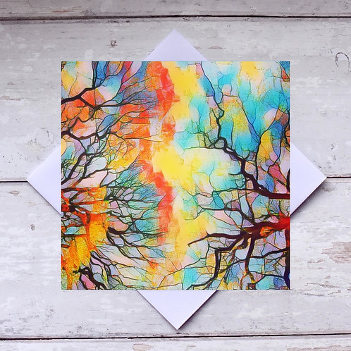 'Stained Glass Trees' Greeting Card