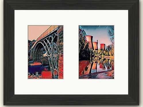 Red Ironbridge & Towers Photoart Duo Framed Print