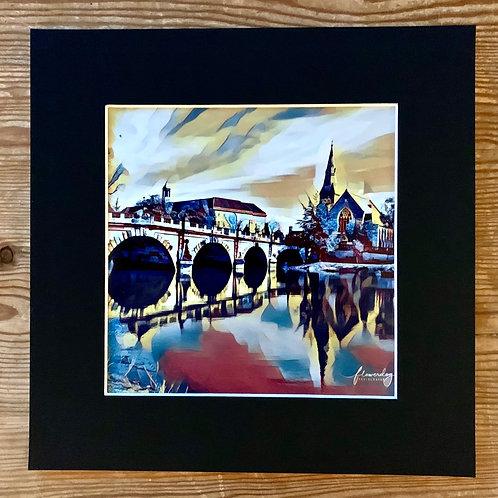 English Bridge Shrewsbury Square Mounted Print