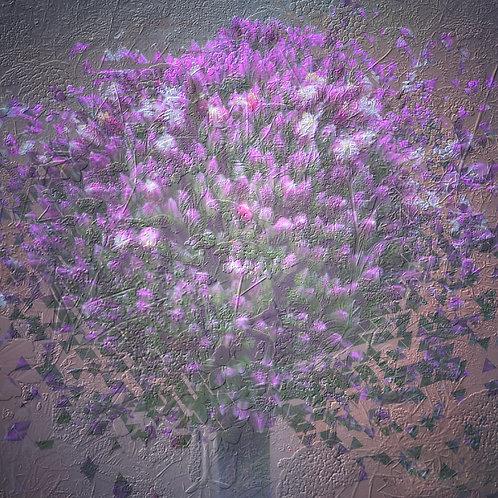 Embossed Allium square mounted print