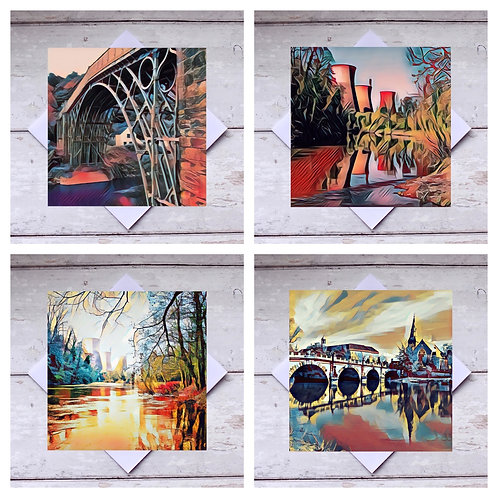 Ironbridge  & Shrewsbury Photoart - Mixed 1 Greeting Cards