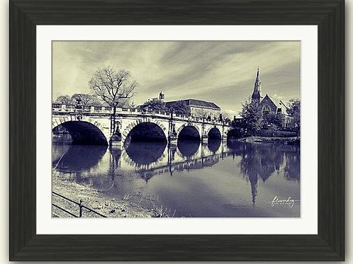 English Bridge Shrewsbury B/W Framed Print
