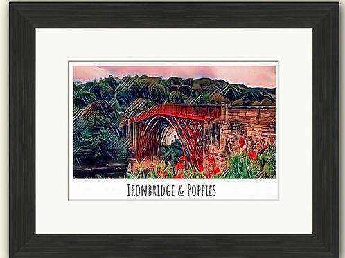Ironbridge & Poppies Poster Photoart
