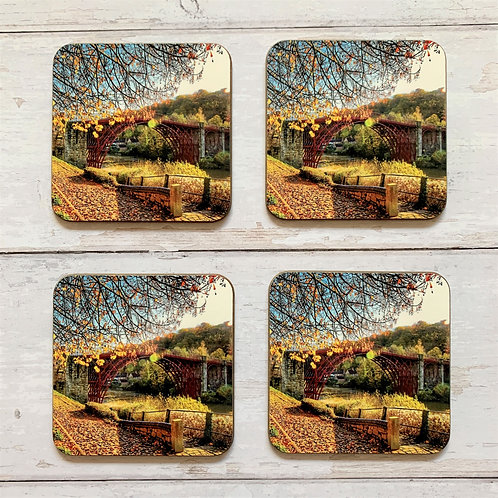 4 x Golden Ironbridge Coasters