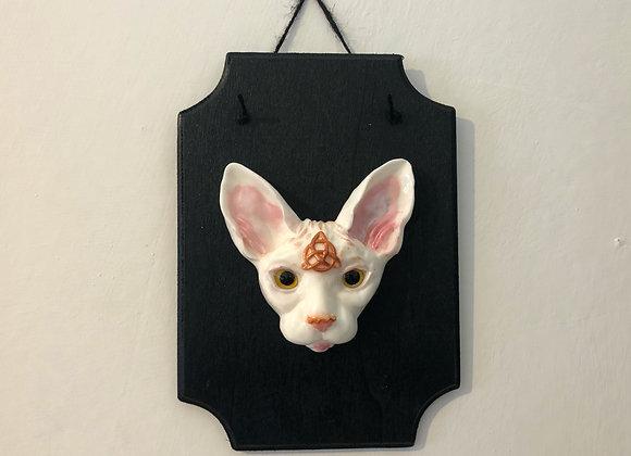 White Sphnyx Cat Wall Plaque