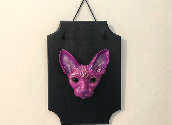 Hot pink sphinx cat plaque