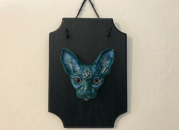 blue green sphynx cat plaque