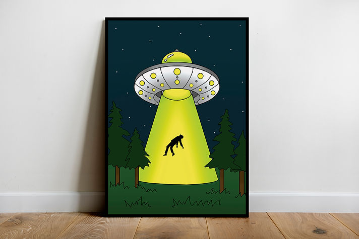 Alien ufo wall art print - Tattoo art gift