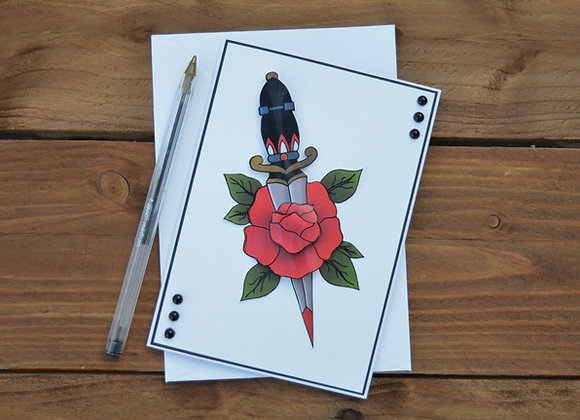 Rose and dagger card