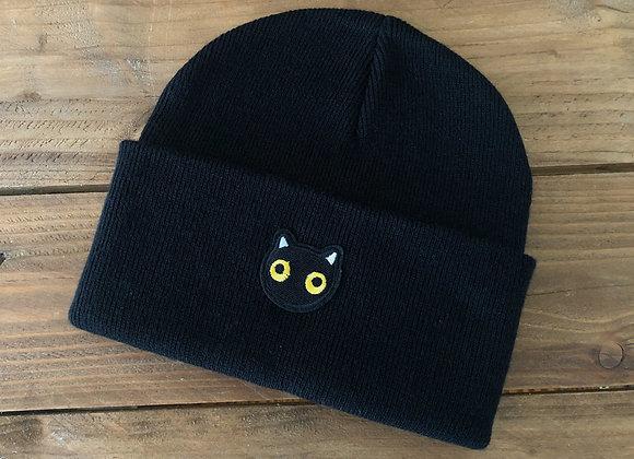 black cat beanie hat