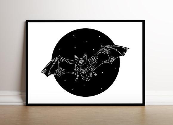 monochrome bat art print spooky home decor