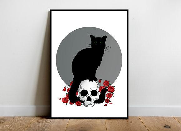 Black cat art print a4