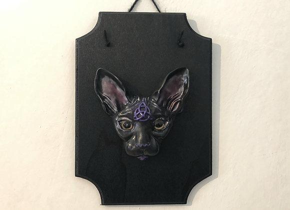 Black Sphynx Cat Wall Plaque