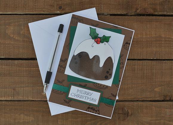 Christmas pudding greetings card