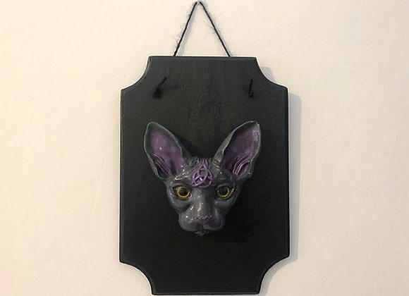 grey sphynx cat plaque