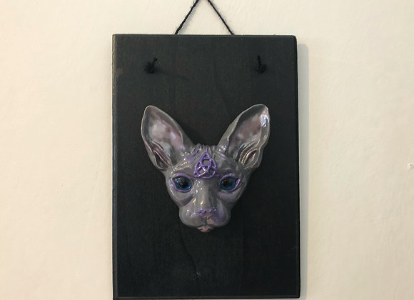 Grey & Lilac Sphynx Cat Plaque