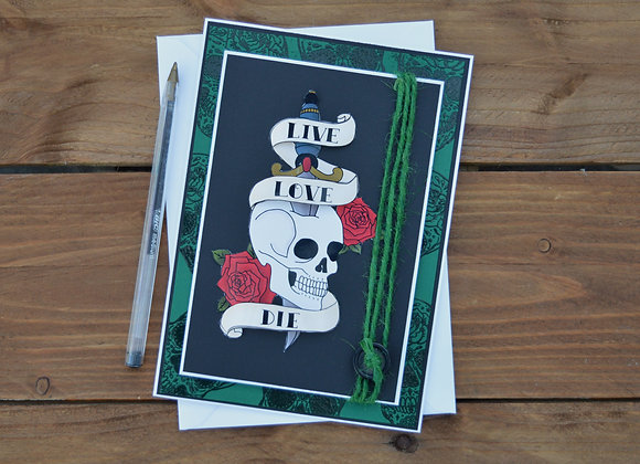 Skull and dagger birthday card