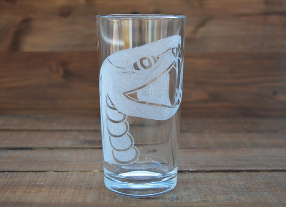 Snake drinking glass