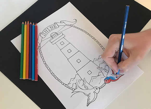 Print-At-Home Lighthouse Colouring Sheet