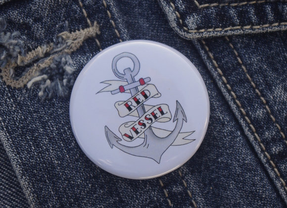 Anchor illustrated pin badge