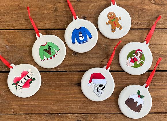 Handmade ceramic Christmas decorations