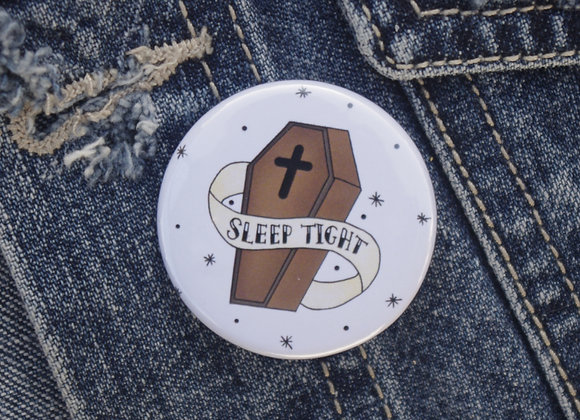 Illustrated Coffin pin badge