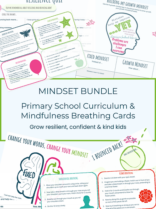 Mindset Bundle! Primary School Curriculum and Mindfulness Breathing Cards