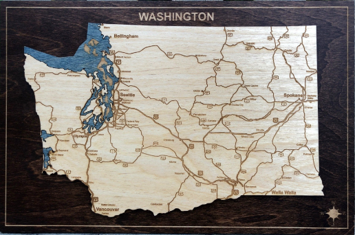 Washington State Map Plaque