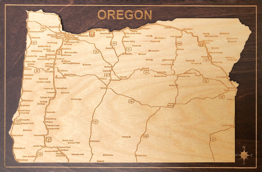 """ Oregon State Map Plaque"""