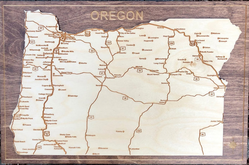 """ Oregon State Map Plaque"""