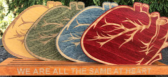 Rainbow Heart Muscle Wood Coasters