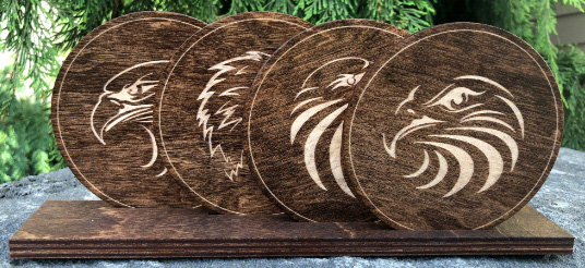 Eagle Heads Wood Stained Coasters Set of 4 in Stand