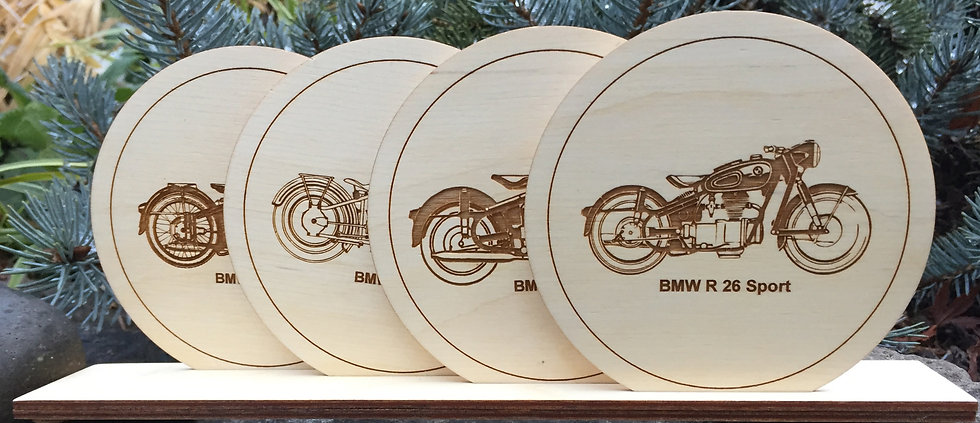 Motorcycle Wood Coasters Set of 4 in Stand