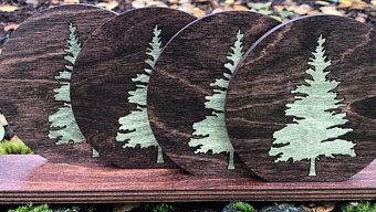 Evergreen Tree Inlaid Wood Coasters