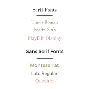 Examples of Serif and Sans Serif Fonts for brand board use.